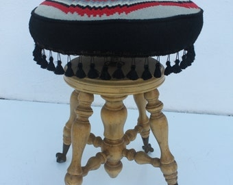 Mid - Century Wooden Swivel Piano stool. : piano stool antique - islam-shia.org