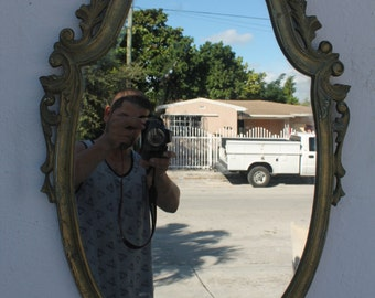 Antique Ornate Solid Brass Frame Oval Wall Mirror.