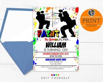 PAINTBALL INVITATION, Instant Download, Paintball Invitations, Paintball Party Invitation, Paintball Birthday Invitation, Edit yourself