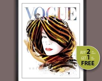 Fashion Illustration, fashion poster, fashion art print, Vogue print, Vogue Paris cover painting, vintage Vogue cover, fashion wall art,3300