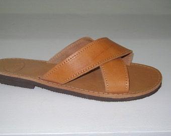 Natural Two strap women sandals, Handmade summer sandals