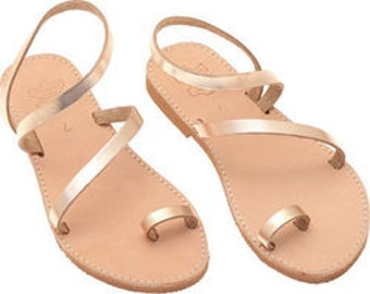 Women sandals, Leather sandals, Toe ring Strappy Sandals, Sandals for women, Greek Summer sandals Bronze