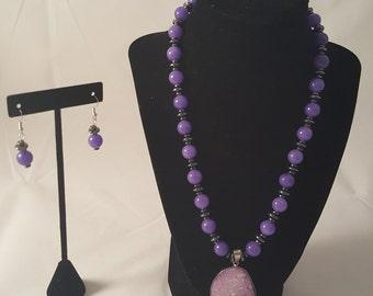 Purple Druzy Necklace - Purple Necklace - Purple Pendant Necklace - Purple Earrings - Purple Jewelry Set - Druzy Necklace - Druzy - Jewelry