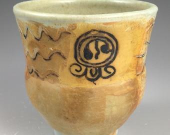 Wheel thrown porcelain Cup Soda Fired - Mayan Glyphs
