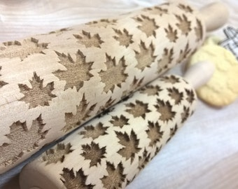 Wooden Rolling Pin Laser Cut Maple Leaf Netting Pattern Canada Autumn