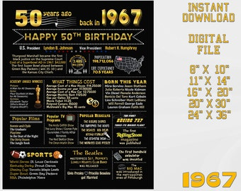 50th birthday chalkboard, 1967 USA events, 50th birthday party decoration, chalk blackboard milestone sign Digital INSTANT DOWNLOAD 1-d1