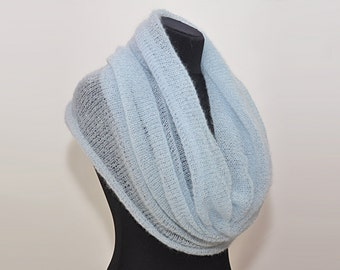 Blue cowl infinity scarf knit mohair scarf blue shawl circle scarf hand knit Cowl blue scarf knitted mohair cowl winter scarves beige cowl