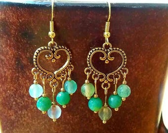 Beautiful antique gold bohemian earrings with bright green agate beads