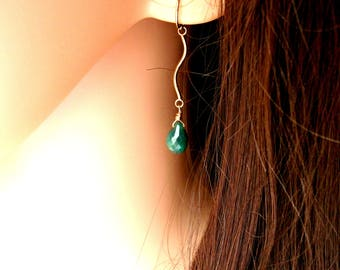 Emerald Earrings On Gold Filled Connectors & Ear Wires - MAY BIRTHSTONE - Gift For Her