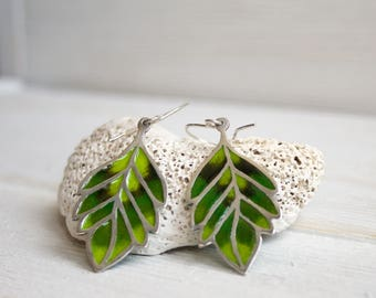 green leaf earrings / silver leaf earrings / green enamel earrings / enamel dangles
