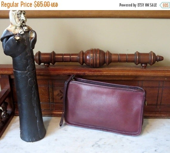 Football Days Sale Coach NYC Beautiful Burgundy Basic Bag- Made In New York City U.S.A. Very Good Condition- Wristlet In Tact -Strap Missing