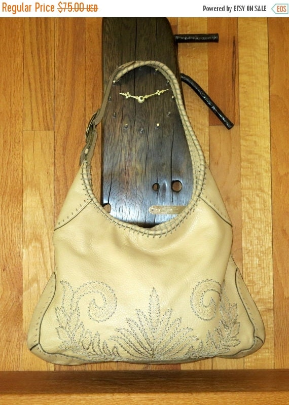 Football Days Sale Cole Haan Creamy Tan Shoulder Bag With Leaf Pattern Stitching- VGC