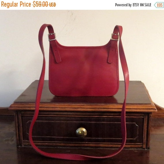 Football Days Sale Coach Small Hippie (Hipster) Flap Bag In Red Leather With Nickel Hardware- Style No 9142 - Made In Costa Rica - EUC