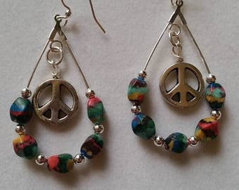 Colorful Peace Sign Earrings