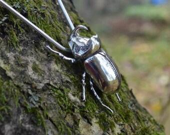 Sterling Silver Necklace: Rhinoceros Beetle