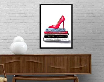 Fashion shoes print Coco Chanel books Gucci Vogue Paris Tiffany YSL Books Poster Fashionista Design decor Girl room wall art