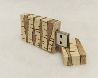 Birch Tree 16GB Wood Burned USB Drive