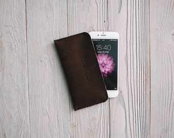 Leather iPhone sleeve iPhone 6, iPhone 5, iPhone 5S, iPhone 6+, leather iPhone case, wool felt 100%