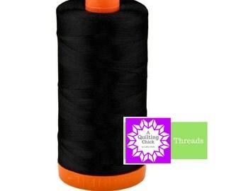 50wt Aurifil Black 100% Cotton Mako SPOOL Thread Aurifil #MK50-2692