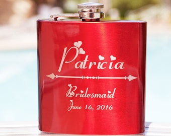Beautiful Glossy Red Flask (fits perfectly in purse) - Personalized for Bridesmaids, Weddings, Birthdays, Custom Engraved, Stylish, Ladylike