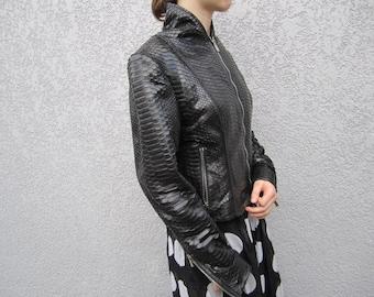 Black Python Leather Woman Jacket,  Slim Fit Leather Jacket,  Ladies Leather Jackets, Black Leather Jacket