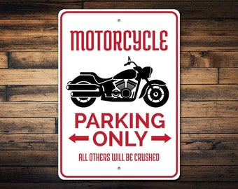 Motorcycle Parking Sign, Motorcycle Sign, Motorcycle Gift for Biker Sign, Motorcycle Decor, Motorcyclist Gift - Quality Aluminum ENS1002731