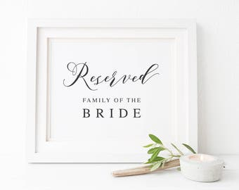 Charcoal and White Calligraphy Printable Wedding Sign, Reserved Family of Bride Groom, 2 sizes, Instant Download, Peach Perfect Australia