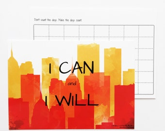 Motivational Quote Postcard - Inspirational Quote - Goal Planner - I Can and I Will - Affirmation Card - Encouragement Card - Goal Setting