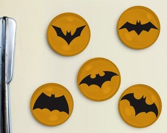 Batman Inspired Magnets - bat symbol, robin, super hero, bruce wayne, dark knight, comic book, glass bubble, marvel, bat man, bruce wayne