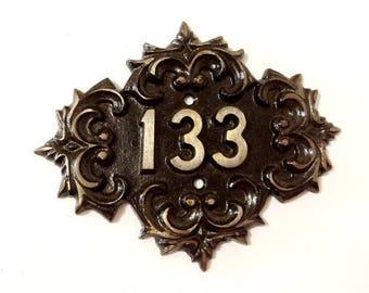 Soviet cast iron door number sign 133 , vintage russian metal door apt room plate