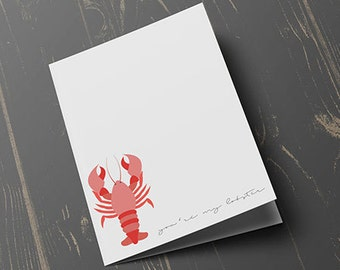 You're My Lobster Card, greeting card, valentines day card, card for her,card for him, blank inside
