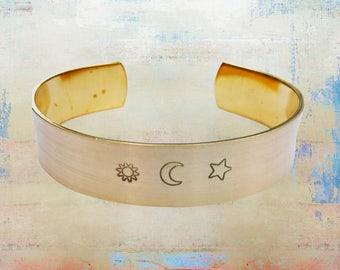 """Sun Moon Star Brass Cuff Bracelet - Wanderlust - Hand Stamped - Moon Child 1/2"""" Wide"""