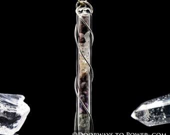Protection Crystal Energy Pendant .925 SS w/ White Azeztulite, Black Tourmaline,Smokey Quartz,Hematite,Sugilite, Guardianite