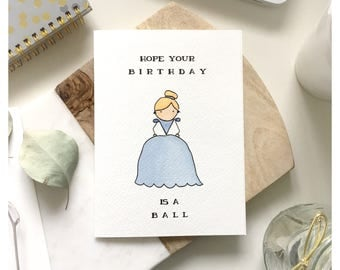 C I N D E R E L L A // birthday card, cinderella birthday card, princess birthday card, princess gift, cinderella gift, disney card, punny