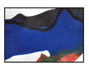 ATC ACEO Abstract Miniature landscape Painting Black blue orange Original Artwork current by Robert McConvey