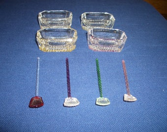 Vintage Glass Salt Cellars and Glass Spoons