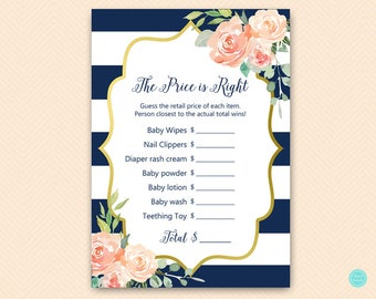 Navy Blue and Gold Price is right Baby Shower Game, Price is right baby shower, Baby Shower Games, Baby Shower Activities TLC536