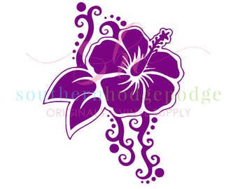 Hawaiian Flower SVG design/ svg file/ svg design/ Hibiscus SVG/ hibiscus flower SVG/ hawaiian svg/ Sea Turtle design/ silhouette/ circuit