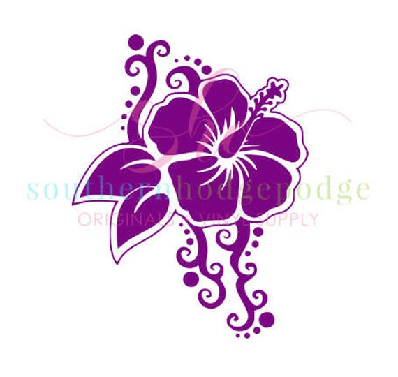 Hawaiian Flower SVG Design Svg File Hibiscus Sea Turtle Silhouette Circuit