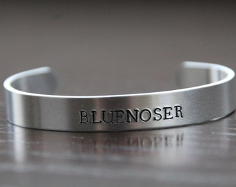 Bluenoser- Nova Scotia hand stamped metal bangle bracelet