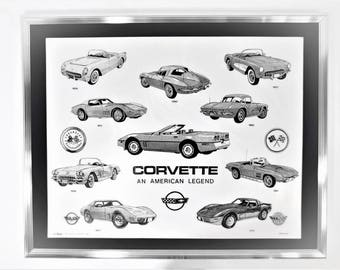 Corvette: An American Legend framed marble etching