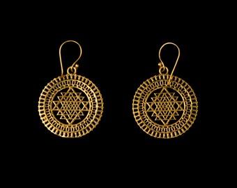 SRI YANTRA brass earrings indian earrings sacred geometry