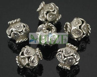 HIZE SB612 Thai Karen Hill Tribe Silver Wavy Oval Bicone Focal Beads 10mm (6)