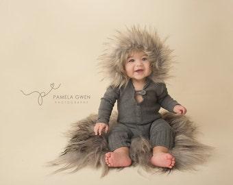 Liam Romper, hoodie romper, boy romper, boy outfit, winter outfit, winter hoodie, photo prop, fur outfit, fur hoodie, fur, sitter romper
