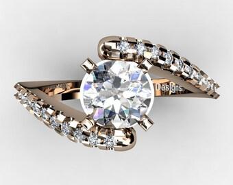 Modern French 14K Rose Gold 1.0 Ct White Sapphire Diamond Ring R1099-14KRGDWS