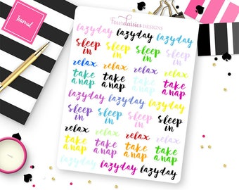 33 Lazy Day Stickers for Erin Condren Life Planner, Plum Paper or Mambi Happy Planners