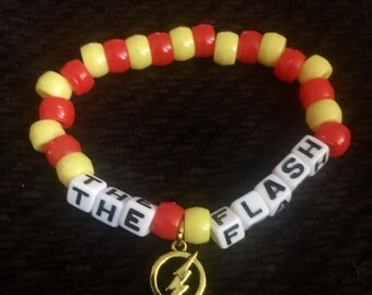 The Flash Kandi bracelet. The Flash bracelet. The flash jewelry. DC comics. The Flash emblem