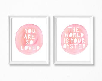 You Are So Loved, Baby Shower Gifts, Baby Girl Nursery Sets, Pink Nursery Printables, Baby Girl, Nursery Art Printable, Baby Quotes