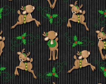 Kringle Krossing, Christmas fabric, black background with reindeer, Reindeer fabric, by Henry Glass, 6405-99