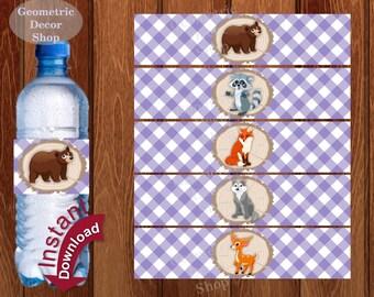 Purple Water Bottle Labels Instant Download Lumberjack Birthday Milk Wilderness Buffalo Plaid Lumber Jack bear deer fox wolf baby shower LJ3